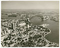 (AMP Building, Botanic Gardens, Harbour Bridge and Circular Quay with liner Canberra), July 1963, by Ern McQuillan (13709359004).jpg