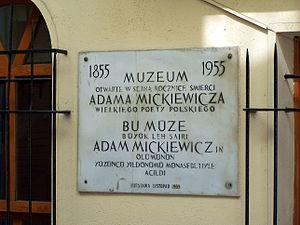 Adam Mickiewicz Museum, Istanbul - Plaque at Adam Mickiewicz Museum