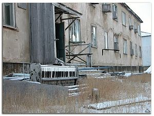 Leningradsky, Chukotka Autonomous Okrug - Abandoned apartment block and piano in Leningradsky