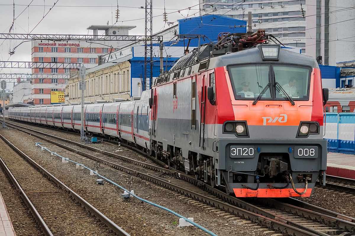 ЭП20-008, поезд Нижний Новгород - Москва, «Стриж», станция Нижний Новгород-Московский.jpg
