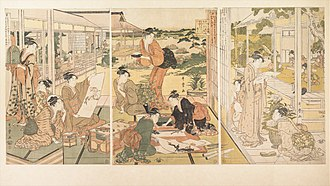History of East Asia - The Four Elegant Accomplishments   (kin ki sho ga) by Japanese artist Utamaro depicts the traditional Four arts of East Asia. From left to right, the arts depicted include the game of Go, Painting, Calligraphy and the Guqin string instrument. Produced in 1788.