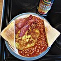 -2019-11-14 Potato pancake, streaky bacon, beans and toast, Trimingham.JPG