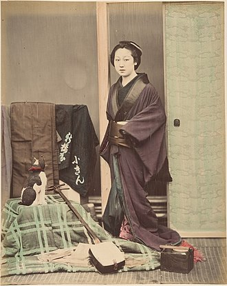 Suzuki Shin'ichi I - Image: Japanese Woman in Traditional Dress Posing with Cat and Instrument MET DP155412