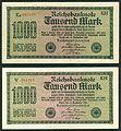 1000 Mark Reichsbanknote 1922 2 Versionen gedruckt von J. C. König & Ebhardt KH Hannover Seite I 600 dpi.jpg