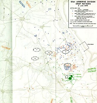 Mission Albany - 101st Airborne drop pattern, D-Day, 6 June 1944.