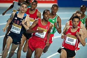2012 IAAF World Indoor Championships – Men's 1500 metres - Abdalaati Iguider (far right) en route to his victory.