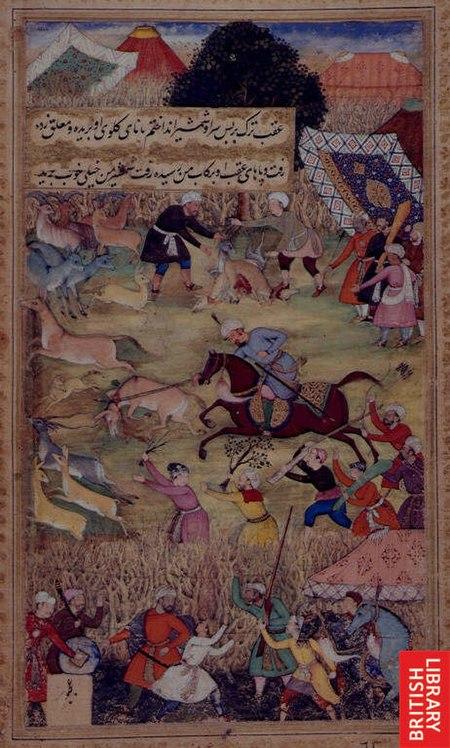 1507-Babur hunting on the plains of Kattavaz.jpg