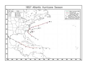 1857 Atlantic hurricane season - Image: 1857 Atlantic hurricane season map