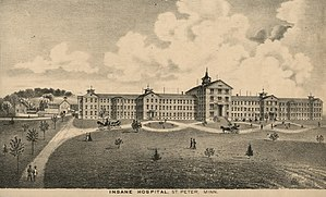 National Register of Historic Places listings in Nicollet County, Minnesota - Image: 1874Lithograph Insane Hospital St Peter Minnesota