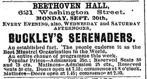 Buckley's Serenaders - Advertisement for performance by Buckley's Serenaders at Boston's Beethoven Hall, 1875