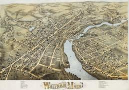 1877 map Waltham Massachusetts by Bailey BPL 10176