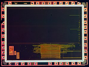 Etching (microfabrication) - Radiation hardened die of the 1886VE10 microcontroller prior to metalization etching