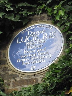 Lucie Rie - Blue plaque at her former home on 18 Albion Mews, Paddington, London