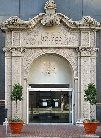 The former headquarters of the United Fruit Company, in New Orleans. The company played a key role in instigating the 1954 coup d'état. 1920UnitedFruitCompanyEntrance.jpg