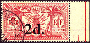 Postage stamps and postal history of Vanuatu - A 1920 stamp of the New Hebrides.