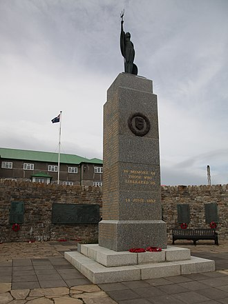 Liberation Day - Liberation Memorial in Stanley, Falkland Islands.