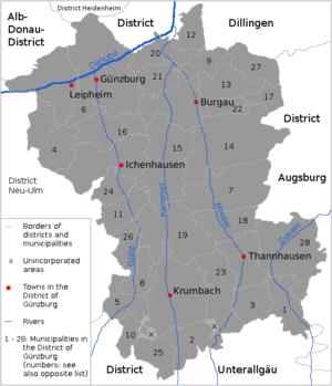 Günzburg (district) - map of the district of Günzburg