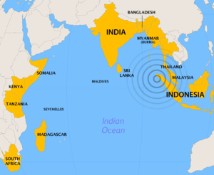 Countries most affected by the tsunami, with t...