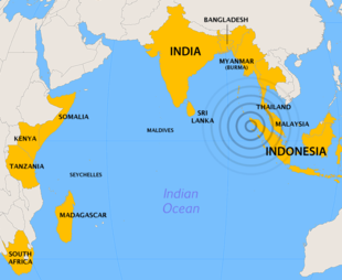 Countries most affected by the 2004 Indian Ocean earthquake.