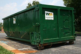 Waste Management (corporation) - A Waste Management rolloff container in Durham, North Carolina.