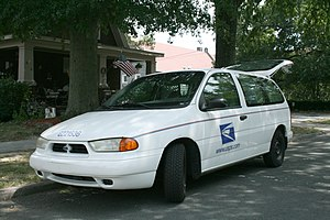 Ford Windstar - 1998 United States Postal Service Ford Windstar, showing the larger driver's side door