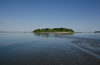 Bumpkin Island - The island, seen from the sand spit, which connects it to Hull