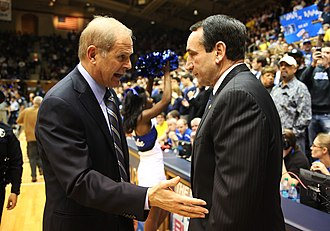 Duke–Michigan men's basketball rivalry - John Beilein (left) and Mike Krzyzewski (right) in 2013