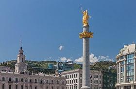 2014 Tbilissi, Pomnik Wolności z konnym posągiem świętego Jerzego (07).jpg
