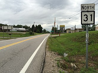 West Virginia Route 31 - View north along WV 31 at WV 2 in Wood County