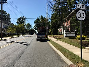 Hightstown, New Jersey - Route 33 is the primary state highway serving Hightstown