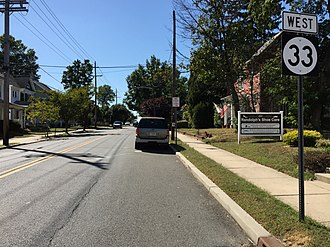 Hightstown, New Jersey - Route 33 westbound in Hightstown