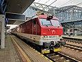 2018-06-28 Locomotive 350 017-0 at Poprad-Tatry railway station, Slovakia.jpg