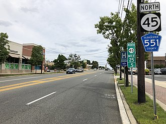 Woodbury, New Jersey - Northbound along the Route 45 and CR 551 concurrency in Woodbury