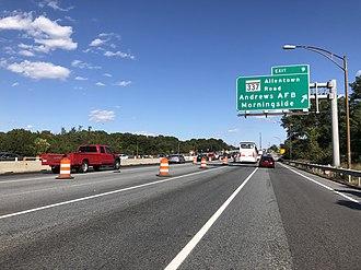 Morningside, Maryland - I-95/I-495 northbound in Morningside