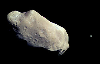 Binary asteroid - Binary asteroid 243 Ida with its small minor-planet moon, Dactyl, as seen by Galileo