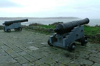 Royal Guernsey Militia - Two cannon on a militia battery, overlooking L'Eree Bay, Guernsey