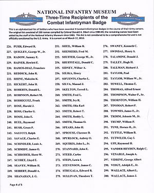 Combat Infantryman Badge - Image: 3x CIB Recipients list p 4of 5