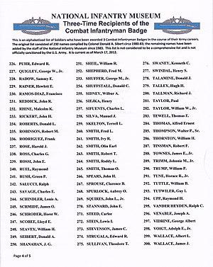 Combat Infantryman Badge - Image: 3x CIB Recipients list p 4of 5