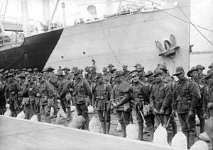 40th Battalion (Australia) - Reinforcements for the 40th Battalion in Melbourne on their way to the Western Front, October 1917.