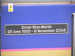 Ufton Nervet rail crash - Name plate of First Great Western power car 43139 Driver Stan Martin, named 25 June 2005