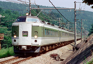 Asama (train) - 489 series in Asama livery on the Shinetsu Main Line, August 1997