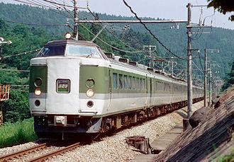 Asama (train) - 489 series in Asama livery on the Shinetsu Main Line, August 1997