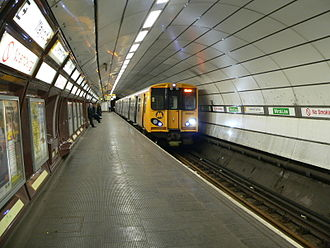 Wirral line - A Class 508 EMU on a Wirral line service at Liverpool Central  prior to redevelopment.