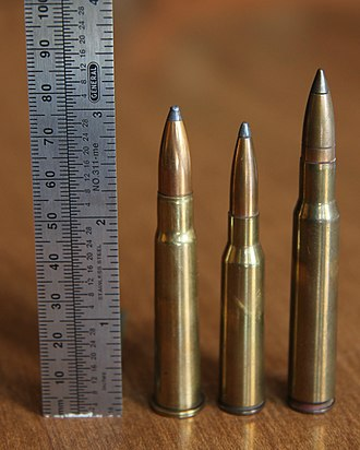 M1917 Enfield - Left to right: .303 British, 6.5×50mmSR Arisaka and .30-06 Springfield soft point ammunition