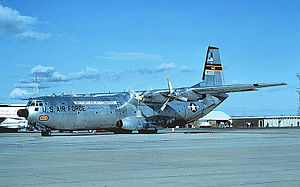 60th Air Mobility Wing - Douglas C-133B-DL Cargomaster, AF Ser. No. 59-0533, 60th MAW, 1967. This aircraft was sent to AMARC in 1971. It was sold to a private owner and placed on civil registry as N77152, later sold to Cargomaster Corp of Anchorage, Alaska as N133B. Scrapped at Anchorage IAP April–July 2000.