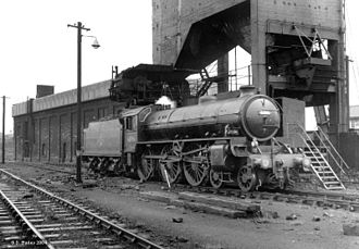 LNER Thompson Class B1 - 61306 under the coaler at Low Moor shed
