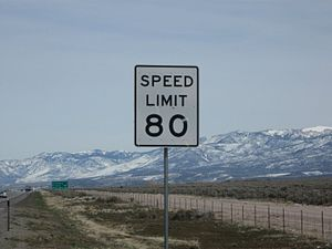 Interstate 15 in Utah - An 80 mph speed limit sign in one of the test zones
