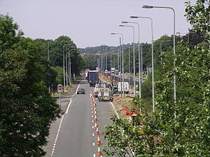 Road traffic control - Traffic cones on the A45 in South Coventry (U.K.).