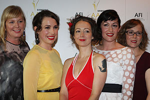 Liz Watts - Left to right: Liz Watts, Alison Bell, Marieke Hardy, Celia Pacquola and Kirsty Fisher at AACTA Awards 2012