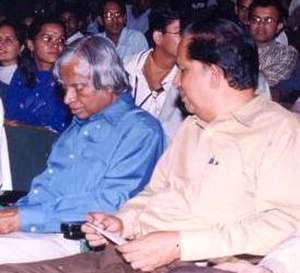 G. Madhavan Nair - ISRO chief G Madhavan Nair (right) with A. P. J. Abdul Kalam on July 8, 2002